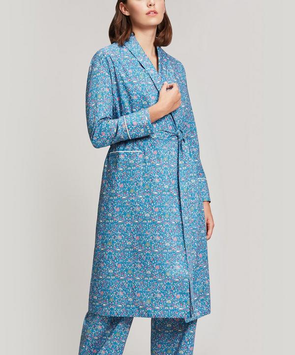 Liberty London Imran Long Cotton Robe In Teal