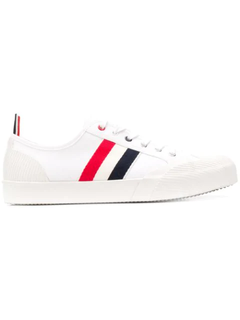 Thom Browne Leather And Grosgrain-trimmed Canvas Sneakers In White