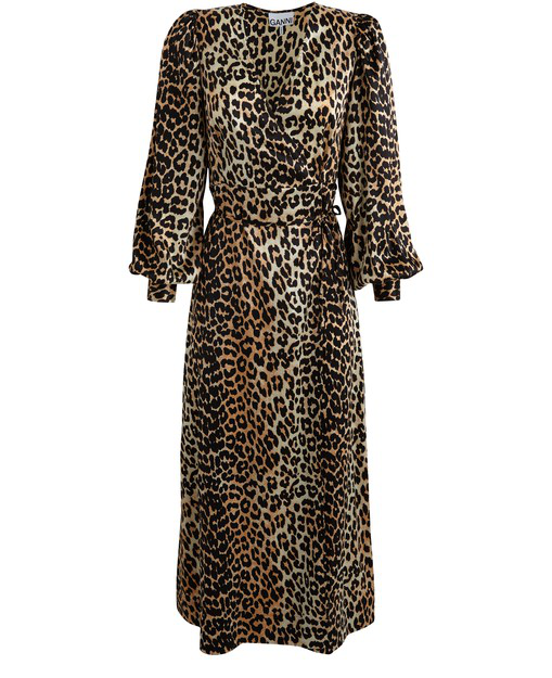 Ganni Animal-print Silk-satin Wrap Dress In Leopard