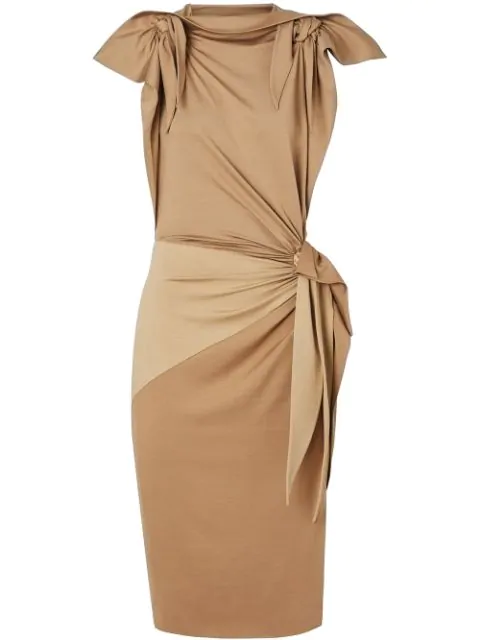 Burberry Tie Detail Tri-Tone Silk Jersey Dress In A4802 Off White