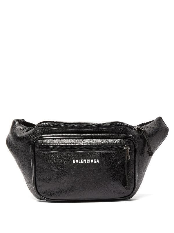 Balenciaga Explorer Textured-leather Belt Bag In Black