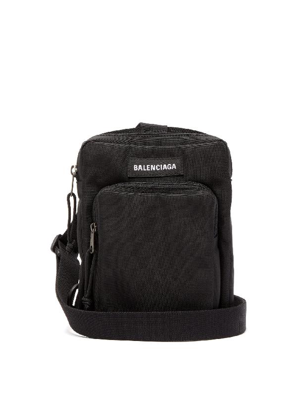Balenciaga Explorer Logo-appliquÉd Canvas Messenger Bag In 1000black