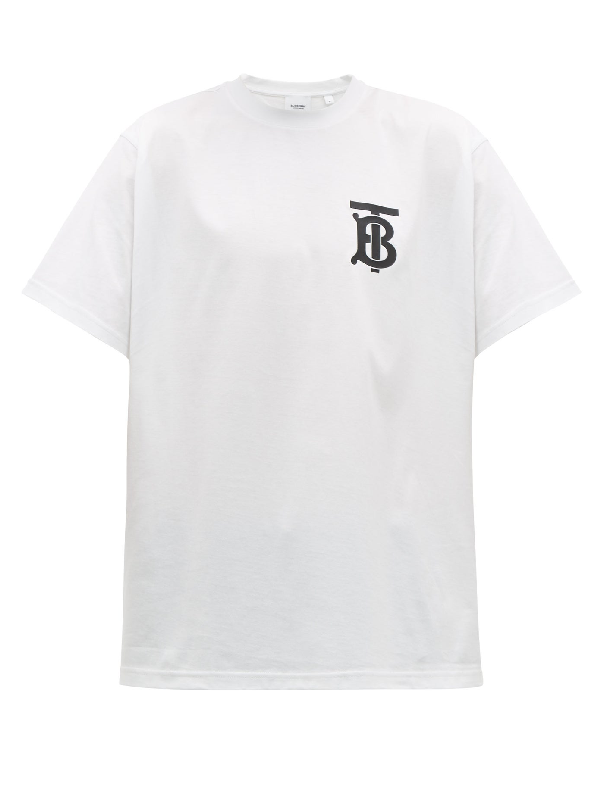 Burberry Oversized Logo-print Cotton-jersey T-shirt In White
