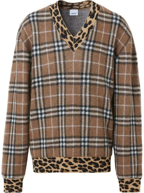 Burberry Pull In Misto Cashmere Con Fantasia Check E Stampa Leopardata In Warm Walnut