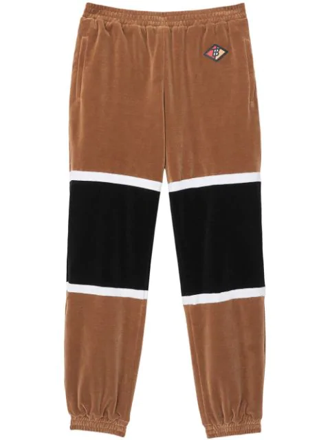 Burberry Brown Men's Logo Graphic Striped Chenille Trackpants In Dark Walnut
