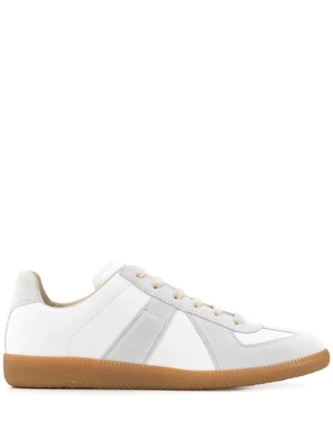 Maison Margiela Replica Suede-paneled Leather Low-top Sneakers In White