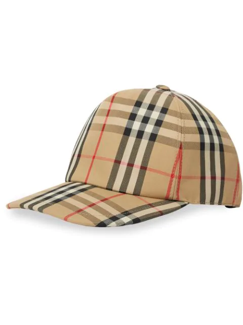 Burberry Leather-Trimmed Checked Cotton-Blend Canvas Baseball Cap In A7026 Beige