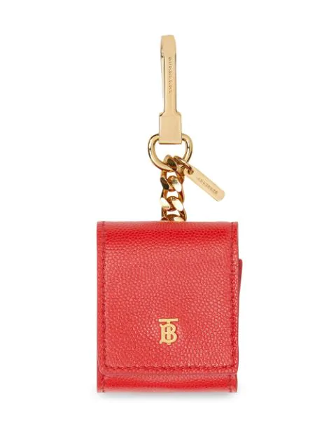 Burberry Earphone Grained Leather Case In Red