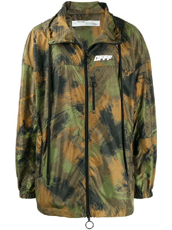 Off-white Hooded Wind Jacket In Green