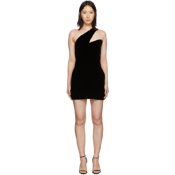 Saint Laurent Asymmetric One-Shoulder Cocktail Dress In 1000 Black