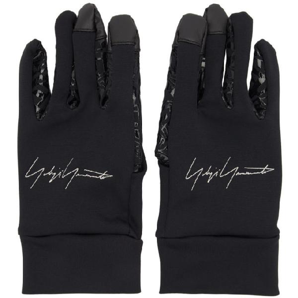 Yohji Yamamoto Logo Embroidered Gloves In Black