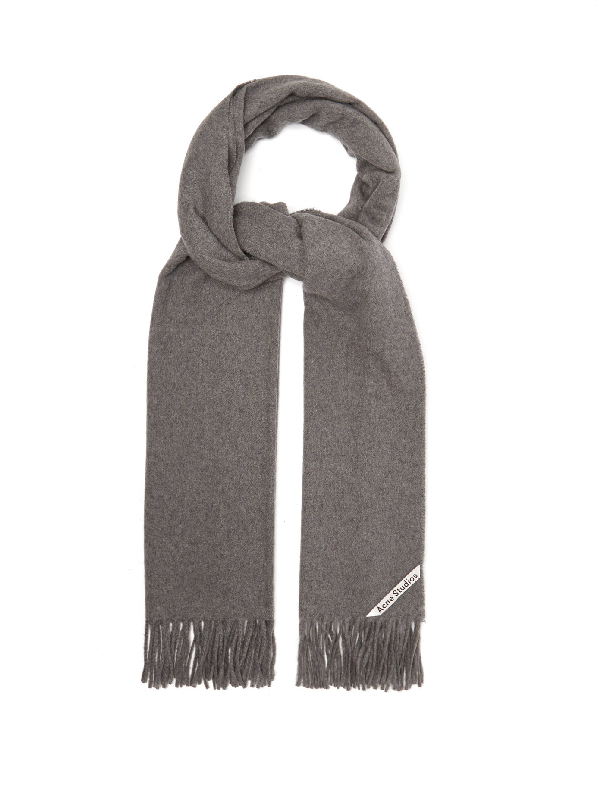Acne Studios Canada Narrow New Scarf In Grey Melange Wool