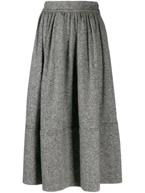 Holland & Holland Mid-length Pleated Skirt In Grey