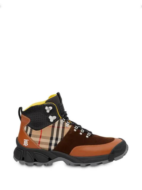 Burberry Leather, Vintage Check Cotton And Suede Tor Boots In Brown