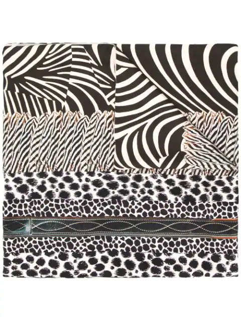 Pierre-louis Mascia Animal Print Scarf In Brown