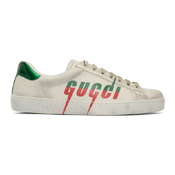 Gucci 'new Ace' Logo Print Distressed Leather Sneakers In White