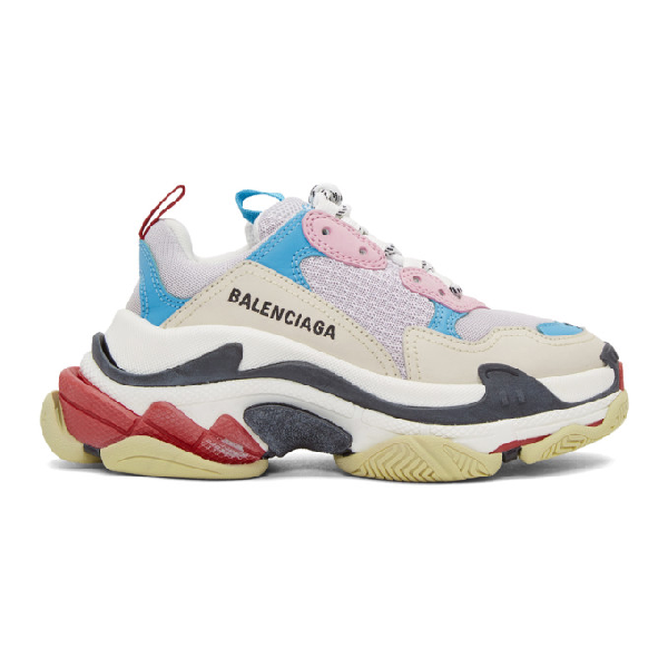 Balenciaga Triple S Logo-Embroidered Leather, Nubuck And Mesh Sneakers In 4196 White/Blue/Pink