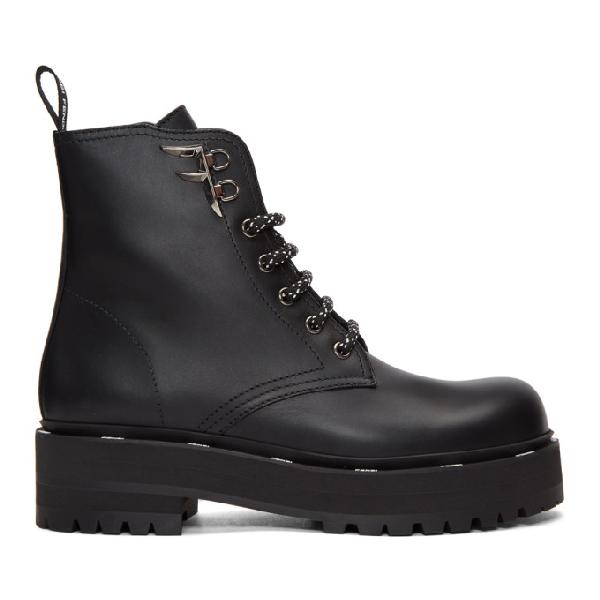 Fendi Ffreedom Textured Biker-style Boots In F0qyl Black