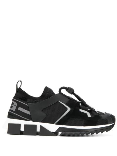Dolce & Gabbana Sorrento Back Initials Logo Print Sneakers In Black