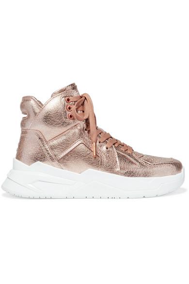 Balmain B Ball Metallic Leather High-Top Sneakers In Brass