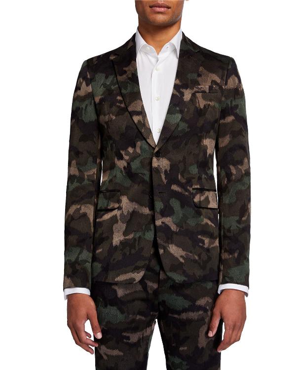 Valentino Men's Camu-print Two-piece Suit In Multi Pattern
