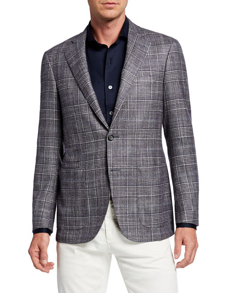 Canali Glen Check Wool, Silk & Cashmere Single-Breasted Jacket In Purple