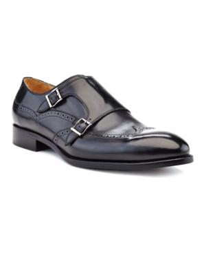 Ike Behar Men's Hand Made Double Monk Strap Men's Shoes In Black