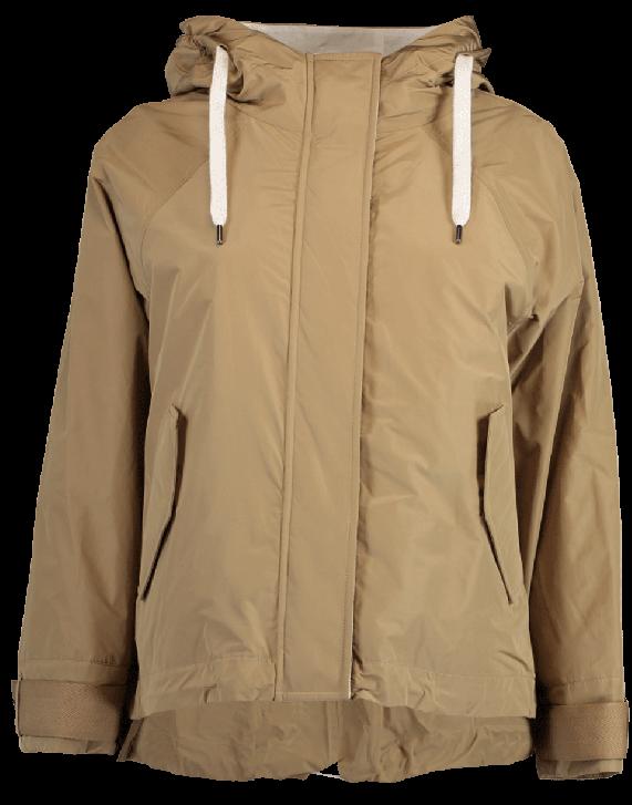 Brunello Cucinelli Short Hooded Taffeta Jacket In Khaki