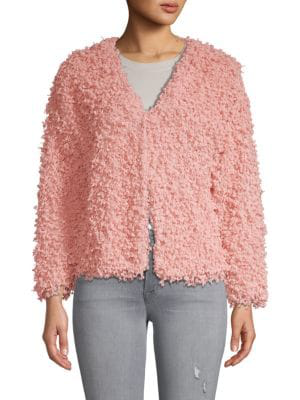 Stellah Textured V-neck Jacket In Blush
