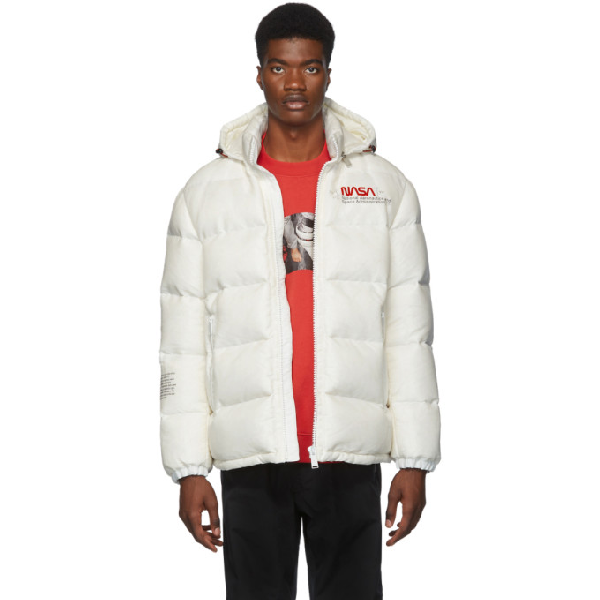 Heron Preston Nasa Slim-fit Printed Quilted Nylon-ripstop Hooded Down Jacket In 0288 White