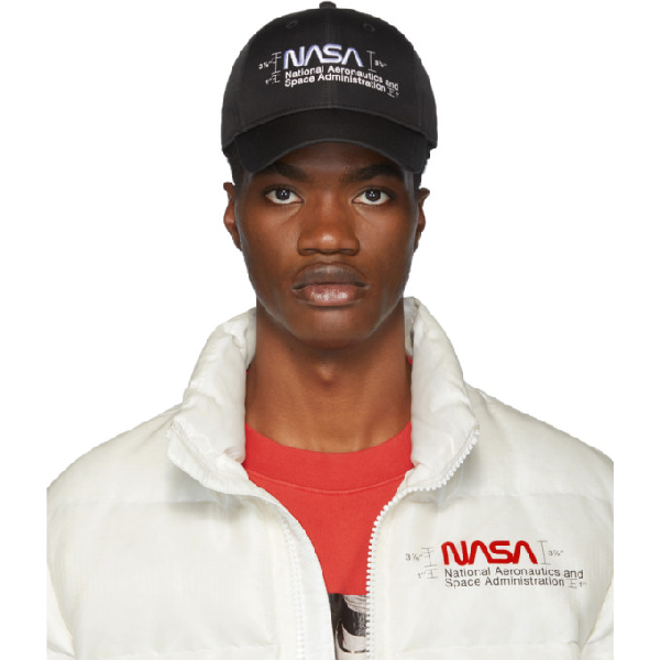Heron Preston Nasa Logo-embroidered Baseball Cap In Black/white