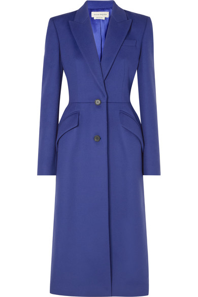 Alexander Mcqueen Wool And Cashmere-blend Felt Coat In Blue