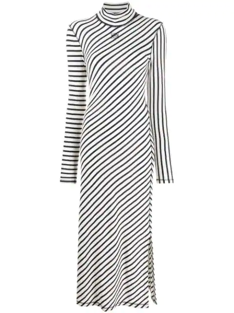 Loewe 海军蓝 And 白色条纹平纹高领连衣裙 In 5118 Navy/white