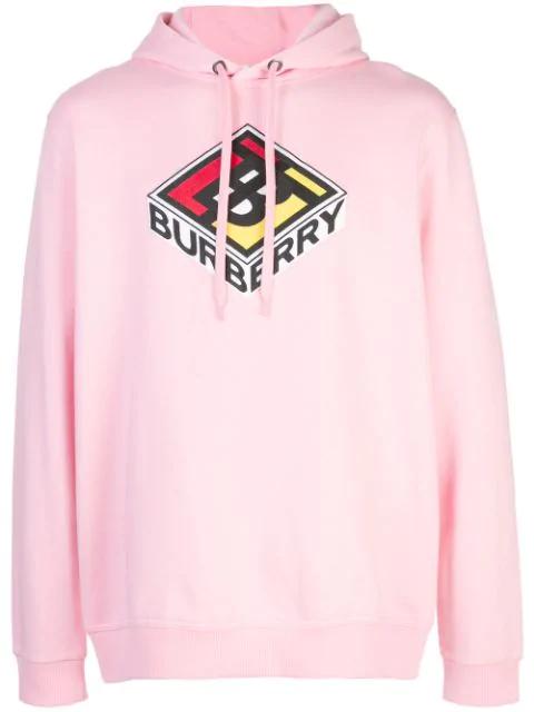 Burberry Logo刺绣纯棉平纹针织卫衣 In Pink