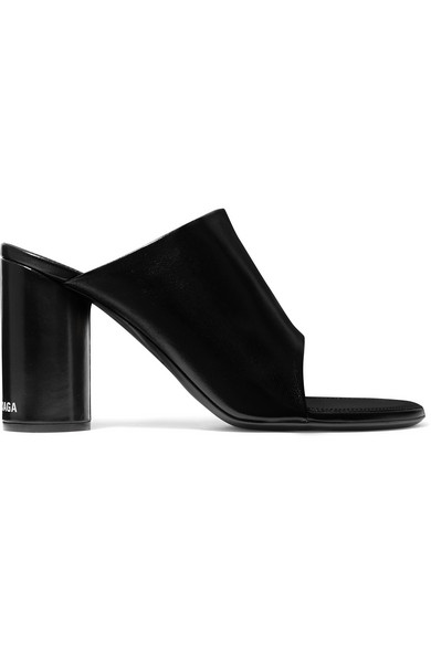 Balenciaga Oval Block-heel Leather Mules In Black