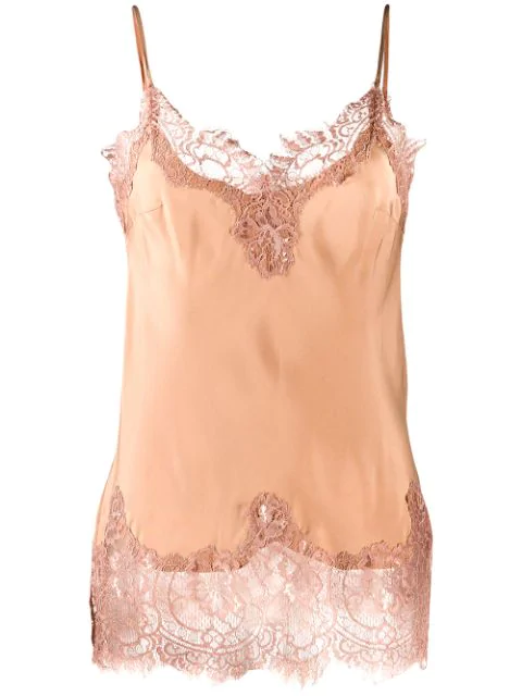 Gold Hawk Sleeveless Lace Detail Top In Neutrals