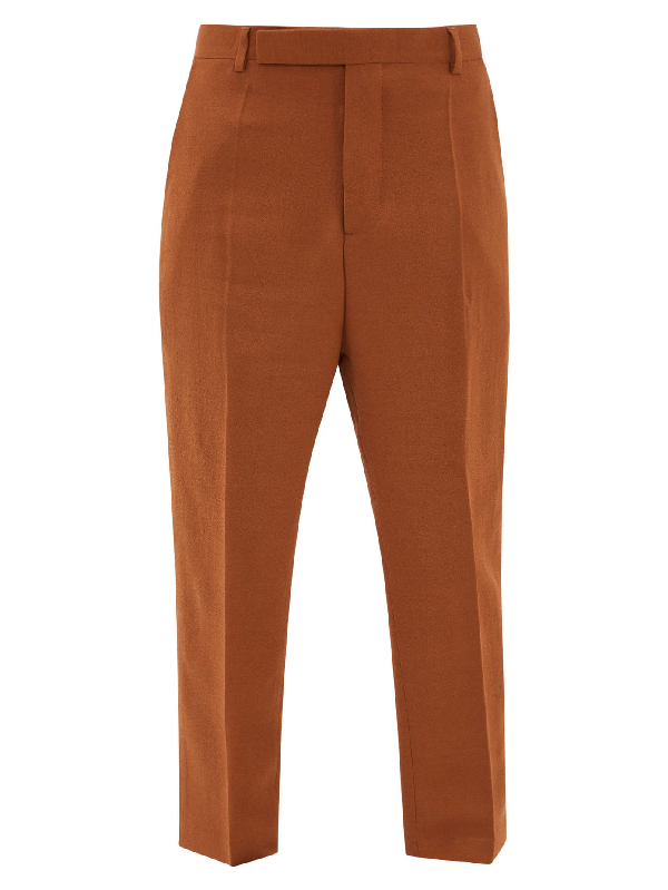 Rick Owens Easy Astaires High-rise Crepe Trousers In Brown