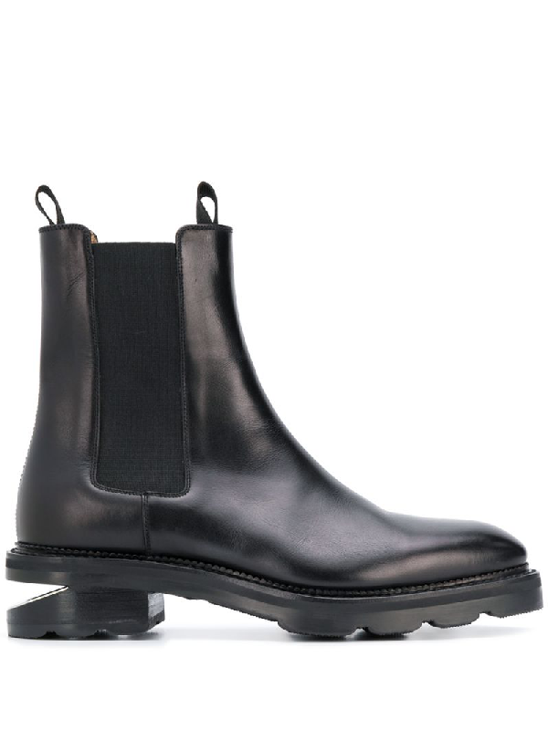 Alexander Wang Low-heeled Andie Cut-out Boots In Black Box Calf Leather