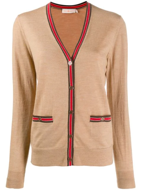 Tory Burch Madeline Color-block Wool Cardigan In Neutrals