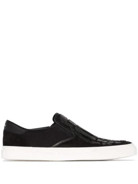 Amiri Skeleton Toe Canvas Slip-on Sneakers In Black