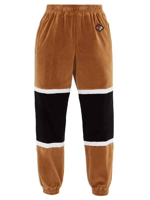 Burberry Brown Men's Logo Graphic Striped Chenille Trackpants