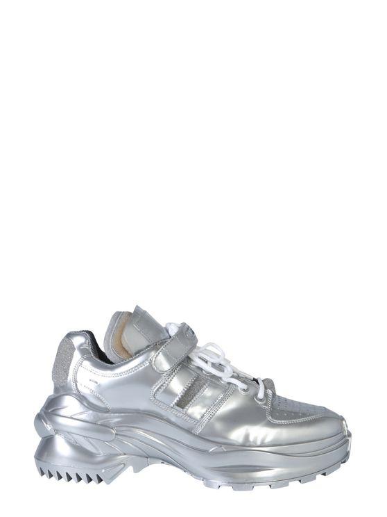 Maison Margiela Artisanal Low Top Metallic Sneakers In Silver