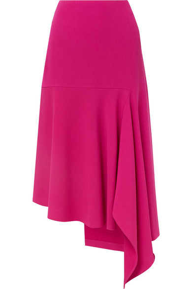 Balenciaga Asymmetric Wool-blend Midi Skirt In 5510 Fuschi