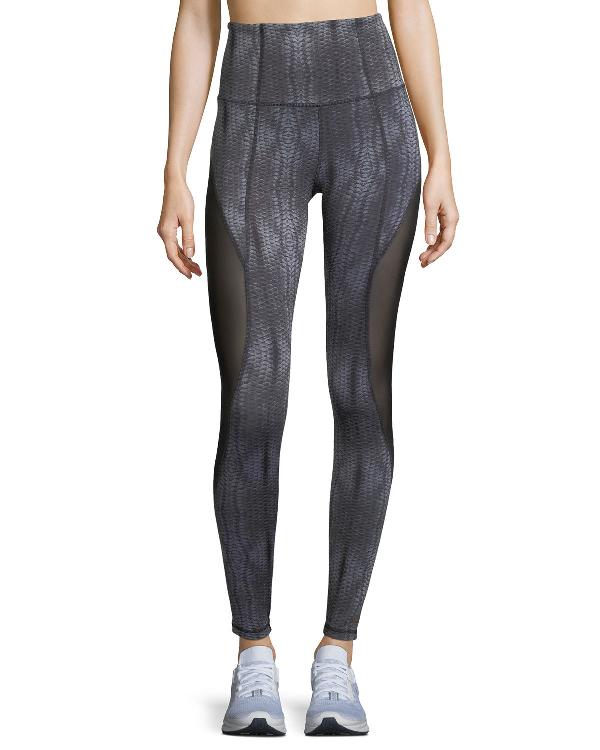 Aurum Passion Printed Mesh Insert Full-Length Leggings In Black Pattern
