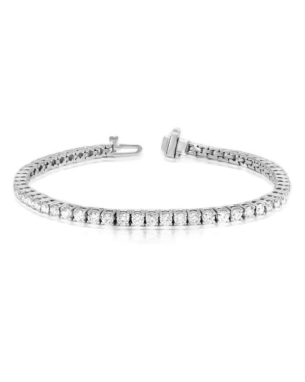 Diana M. Jewels Classic 18K White Gold Diamond Tennis Bracelet In Clear