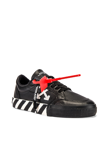 Off-White Men's Arrow Leather Sneakers With Stripes In Black & White