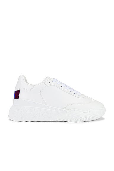 Stella Mccartney Loop Lace-up Sneakers In White Faux Leather