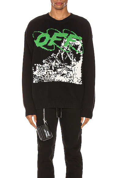 Off-White Black Men's Black Ruined Factory Knit Crewneck In Black & White