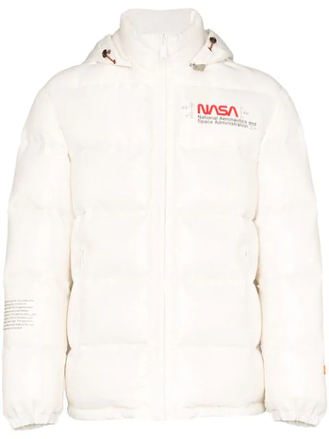 Heron Preston Nasa Slim-fit Printed Quilted Nylon-ripstop Hooded Down Jacket In 0288 Off-white/ Multi
