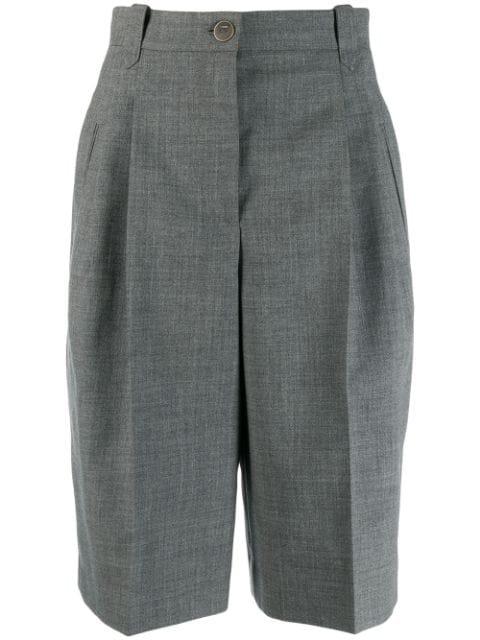 Loewe Tailored Knee Length Wool Shorts In Grey